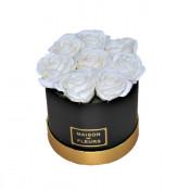 Aranjament floral cutie rotunda neagra cu trandafiri de sapun albi