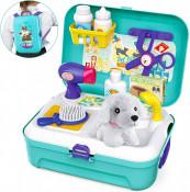 Set accesorii veterinar si ingrijire animale pentru copii cu 16 piese