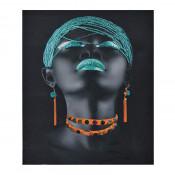 Tablou LED canvas Turquoise Diamonds cu leduri lumini 64 x 45 cm