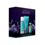 Pachet promo Moroccanoil: Tratament Moroccanoil pentru toate tipurile de par, Sampon Moroccanoil Blonde Perfecting Purple, Sampon uscat Moroccanoil
