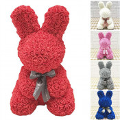 Rose Rabbit Toy - Iepuras floral 40 cm decorat manual cu trandafiri spuma in cutie