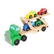 Set camion de transport cu platforma, 4 Masinute, din lemn