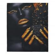 Tablou LED canvas Black Pineapple cu leduri lumini 45 x 35 cm