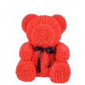 Urs mare din trandafiri de spuma in cutie cadou cu funda, 70 cm