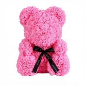 Ursulet din trandafiri de spuma, in cutie cadou cu funda, 40 cm