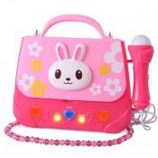 Microfon de jucarie portabil cu gentuta Boombox, roz