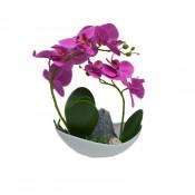 Orhidee cu aspect natural in ghiveci ceramic barcuta, alb, 25 cm