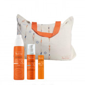 Pachet Avene Spray SPF 30 pentru protectie solara 200 ml,Fluid SPF 50+ pentru protectie solara 50 ml, Stick Avene fotoprotectie SPF 50, geanta de plaja