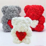 Rose Bear - Ursulet floral 25 cm decorat manual cu trandafiri spuma, cu inima in cutie