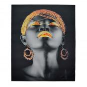 Tablou LED canvas Gold Beads cu leduri lumini 85 x 64 cm