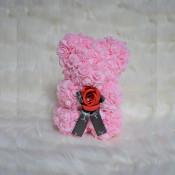 Ursulet floral roz cu trandafir rosu 25 cm, decorat manual, cutie cadou