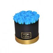 Aranjament floral cutie rotunda neagra cu trandafiri de sapun