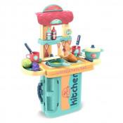 Bucatarie Troller de Jucarie 3 in 1 Little Chefs cu accesorii, verde