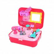 Set accesorii de frumusete pentru fetite, depozitate in gentuta cu maner, 21 piese