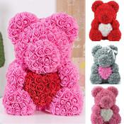 Ursulet Rose Bear din Trandafiri de spuma cu inima, in cutie cu funda, 70 cm