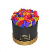 Aranjament floral cutie rotunda neagra cu trandafiri de sapun multicolori