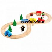 Circuit trenulet din lemn, Train Track, vagoane cu magnet, semne circulatie, cladiri