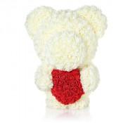 Ursulet Teddy din Trandafiri albi cu inima rosie de spuma, in cutie cadou cu funda, 55 cm