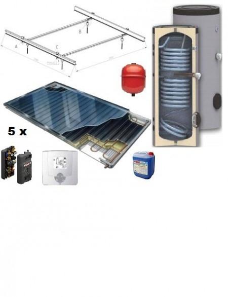 Pachet panouri solare plane Thermosolar cu boiler Woody de 300 l pentru 5-6 persoane