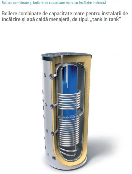 Puffer combinat tank in tank 1000 litri Tesy cu doua serpentine V 15/9 S2 1000 99 EV 200 45