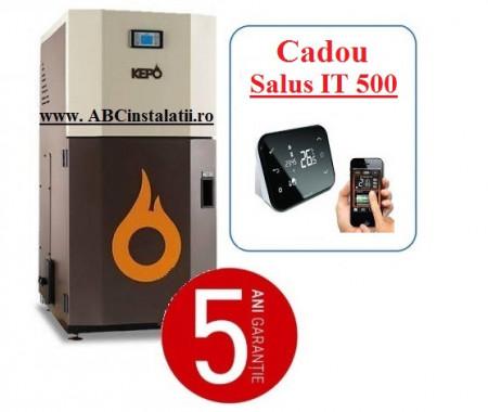 Cazan peleti KEPO 20 AC KW + CADOU Termostat Ambient Salus IT500 curatare automata a arzatorului