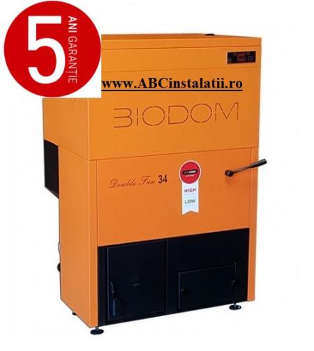Centrala termica pe peleti BIODOM DOUBLE FAN 34 + CADOU Termostat Ambient Salus IT500 cu pompa bypass - 30 kW