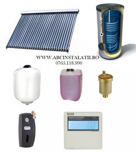 Pachet panou solar cu 24 tuburi vidate SONTEC si boiler 200 litri cu 2 serpentine pentru 4-5 persoane