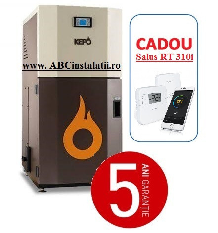 Cazan peleti KEPO 20 AC KW + CADOU Termostat Ambient Salus RT310i curatare automata a arzatorului