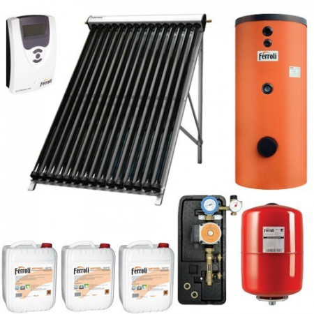 Ferroli Pachet panouri solare Ferroli cu 30 tuburi vidate si boiler bivalent ECOUNIT 200 litri (PSFACM200)