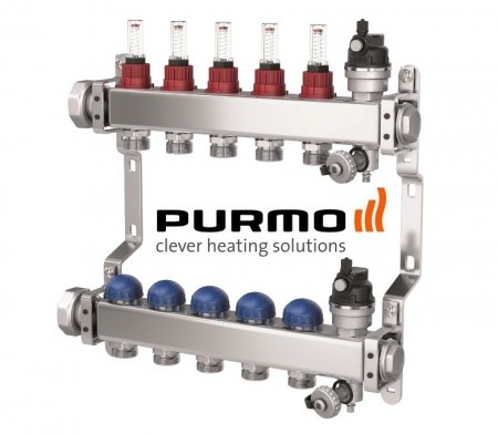 PURMO Distribuitor colector cu debitmetre si ventile M30 9 circuite