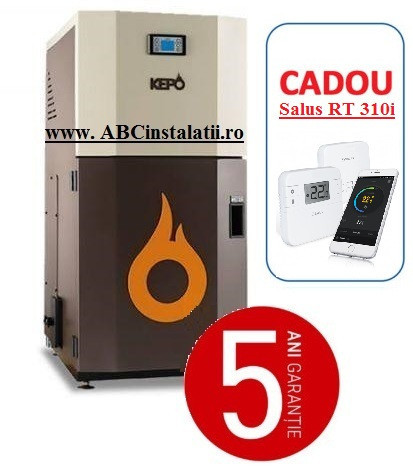 Cazan peleti KEPO 25 MC (10750058) + CADOU Termostat Ambient Salus RT310i curatare manuala a arzatorului
