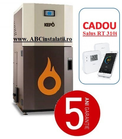 Cazan peleti KEPO 25 AC KW + CADOU Termostat Ambient Salus RT310i curatare automata a arzatorului