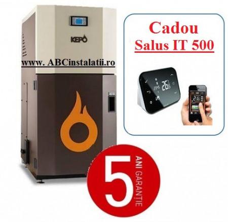 Cazan peleti KEPO 35 AC KW + CADOU Termostat Ambient Salus IT500 curatare automata a arzatorului