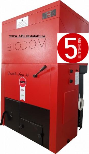 Centrala termica pe peleti Biodom Double FAN 30 Kw + CADOU Termostat Ambient Salus IT500
