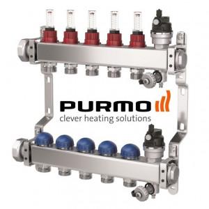 PURMO Distribuitor colector cu debitmetre si ventile M30 6 circuite