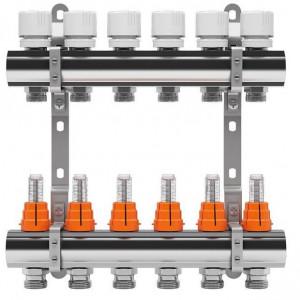 Set distribuitor inox tur/retur cu debitmetru IVAR 1 x EK - 6 cai