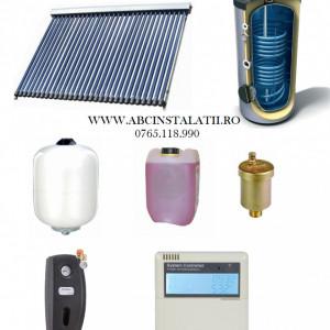 Pachet panou solar cu 45 tuburi vidate SONTEC si boiler 300 litri cu 2 serpentine pentru 6-8 persoane