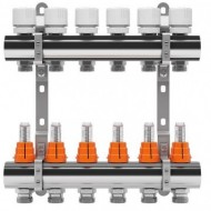 Set distribuitor inox tur/retur cu debitmetru IVAR 1 x EK - 8 cai