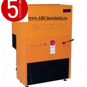 Centrala termica pe peleti BIODOM DOUBLE FAN 34 + CADOU Termostat Ambient Q3RF cu pompa bypass - 30 kW