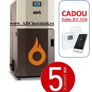Cazan peleti KEPO 35 MC KW + CADOU Termostat Ambient Salus RT310i curatare manuala a arzatorului