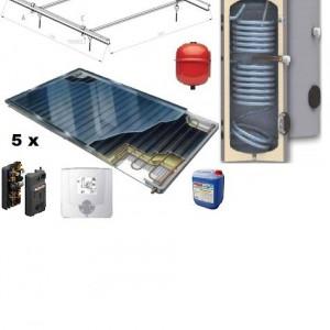 Pachet panouri solare plane Thermosolar cu boiler Woody de 500 l pentru 7 - 8 persoane