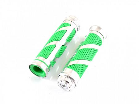 Set mansoane ghidon moto-aluminiu+cauciuc verde