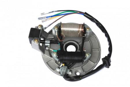 Stator 80-125cc (5 fire, 2 bobine, cu platou si senzor scanteie)