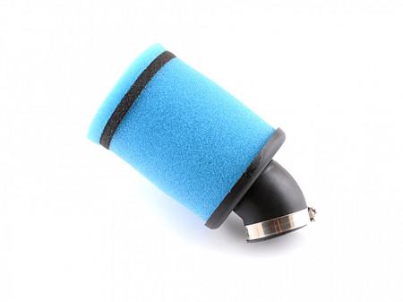 Filtru aer sport Ø35mm/cot 45 grade, albastru-cilindric