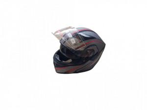 Casca moto flip-up unisex, negru carbon