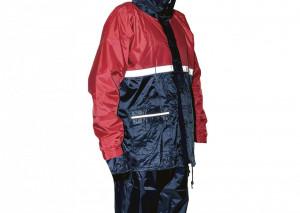 Costum protectie ploaie albastru-rosu