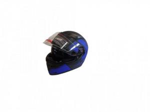 Casca moto integrala, cu ochelari, unisex, negru mat+albastru