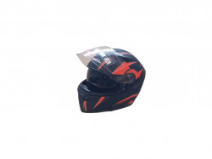 Casca moto flip-up unisex, negru-rosu