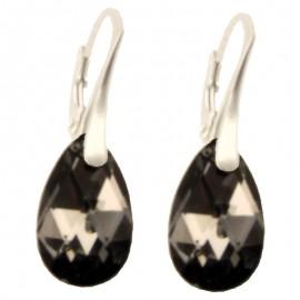 Poze Cercei din argint cu cristale Swarovski Crystal Silver Night  pear