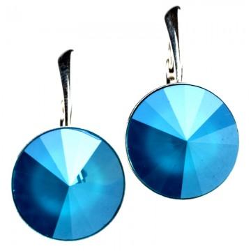 Poze Cercei din argint cu  Swarovski Elements Azure Blue Unfoiled rivoli 14